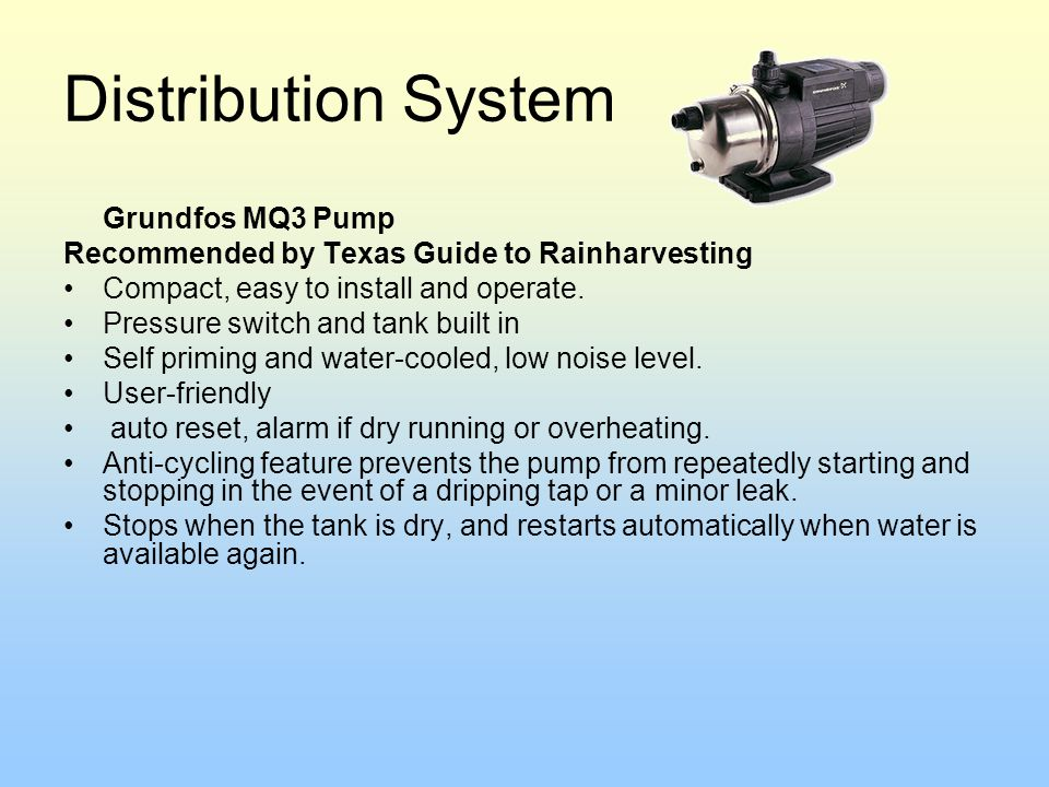 Distribution System Recommended by Texas Guide to Rainharvesting