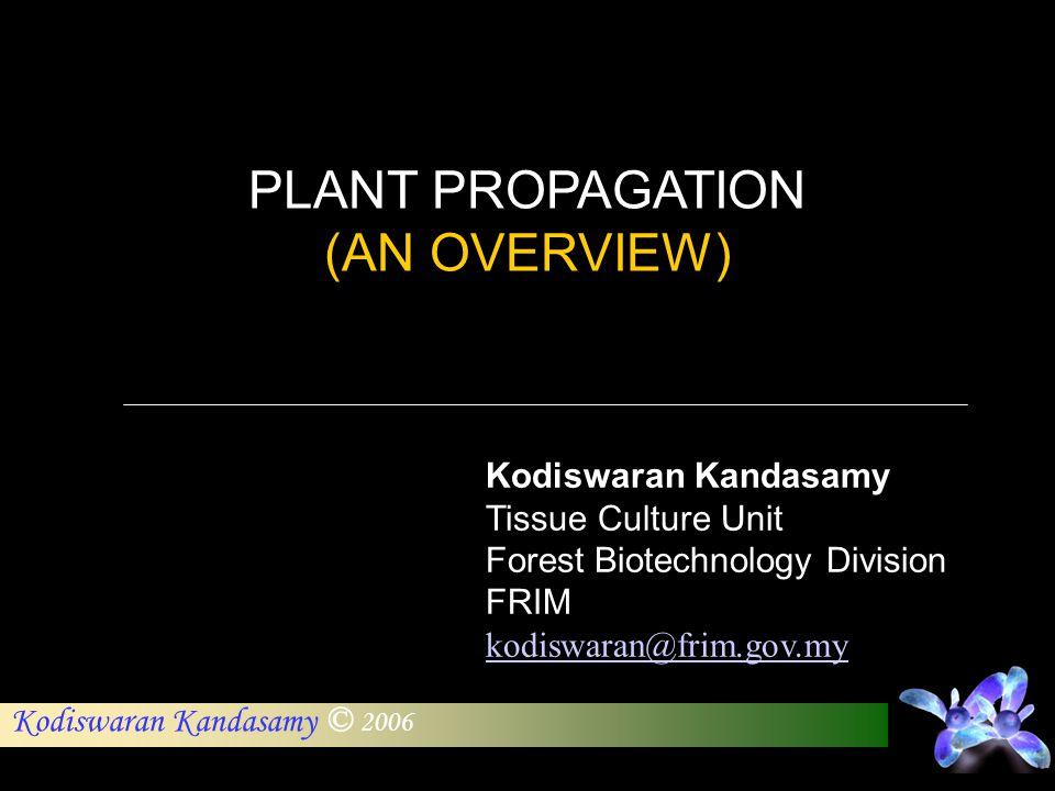 PLANT PROPAGATION (AN OVERVIEW) Kodiswaran Kandasamy