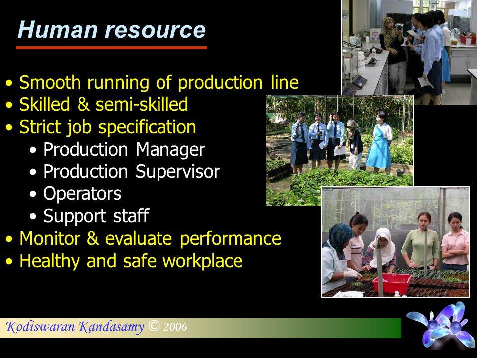 Human resource Smooth running of production line