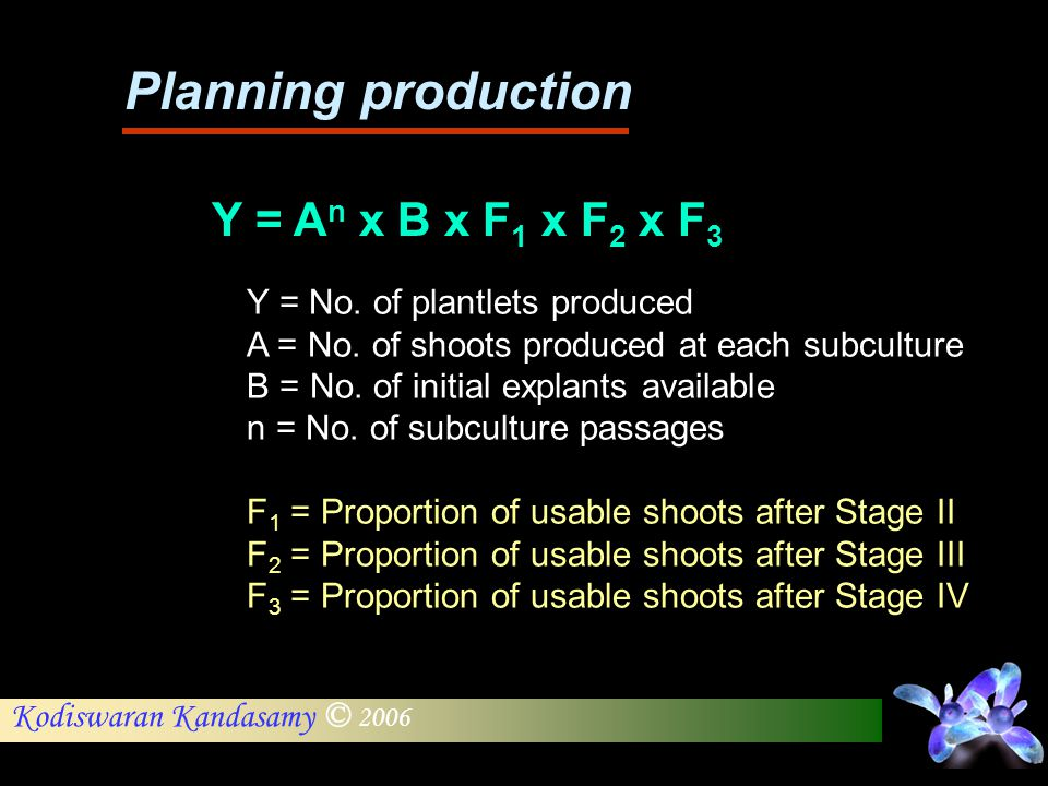 Planning production Y = An x B x F1 x F2 x F3