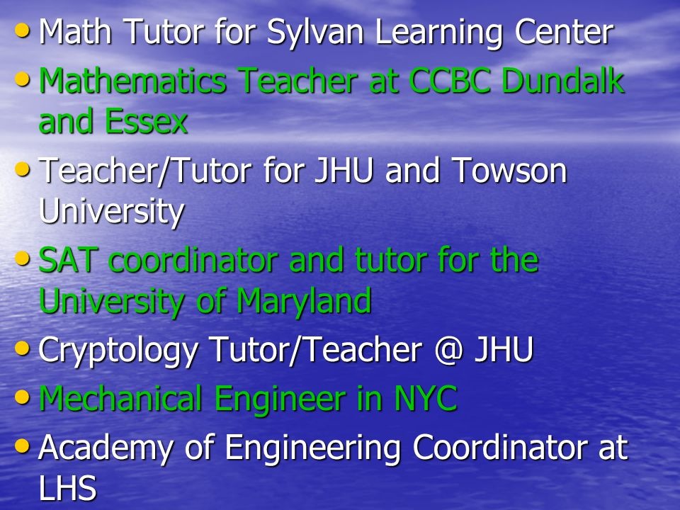 Math Tutor for Sylvan Learning Center