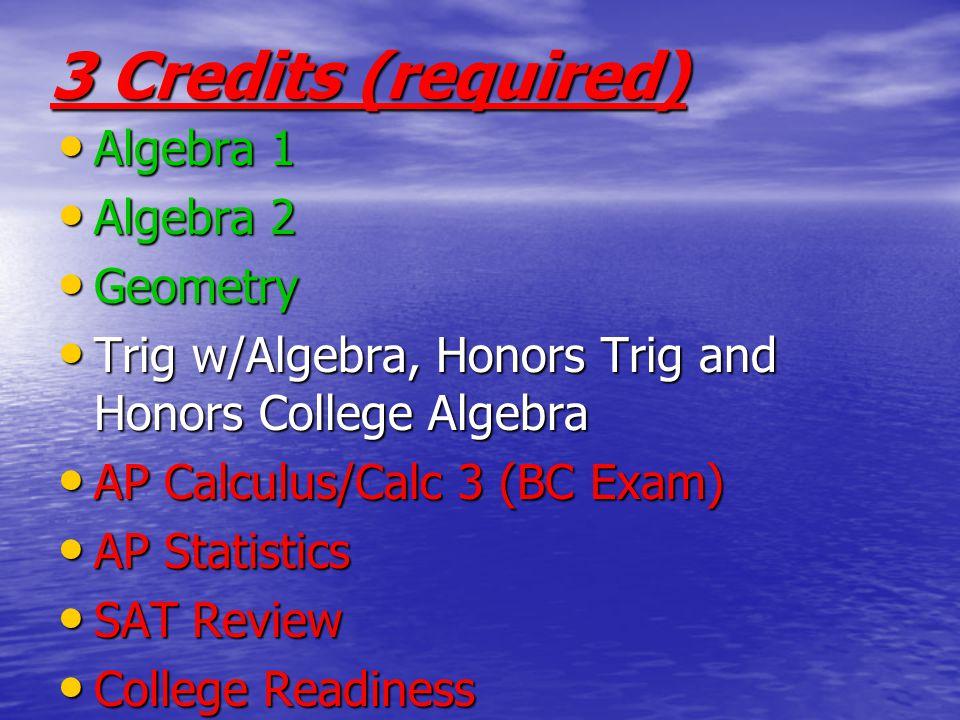 3 Credits (required) Algebra 1 Algebra 2 Geometry