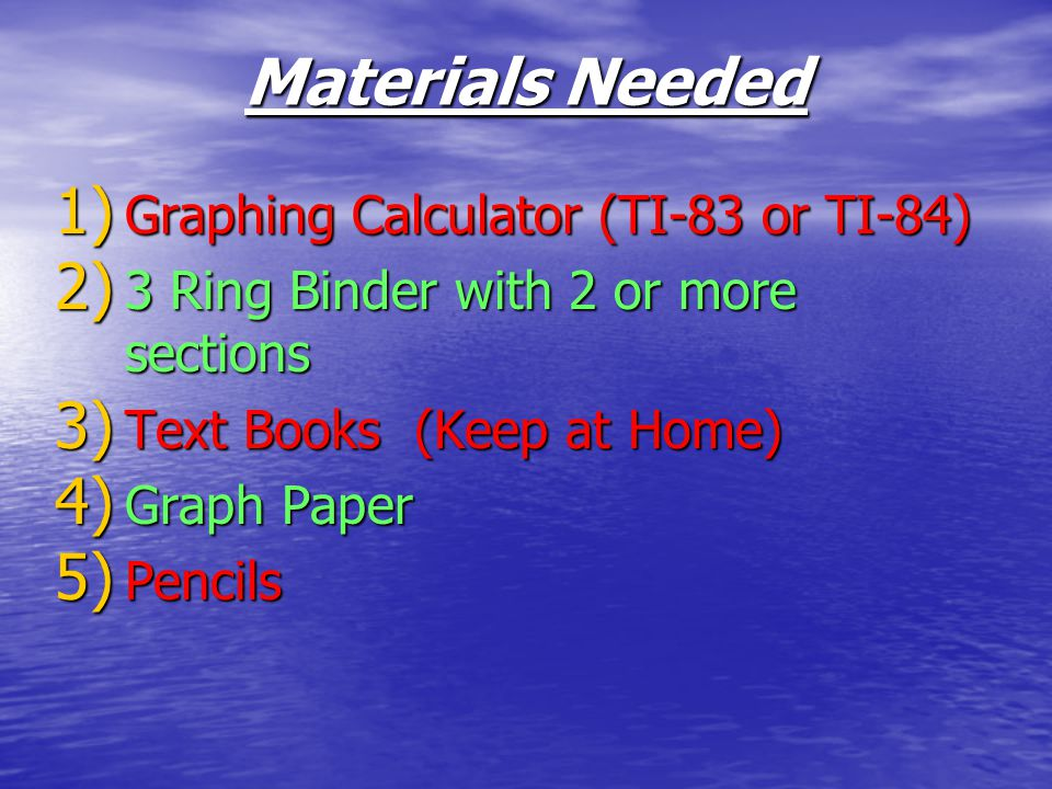 Materials Needed Graphing Calculator (TI-83 or TI-84)