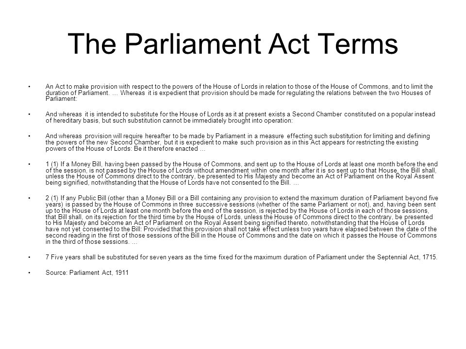 The Parliament Act Terms