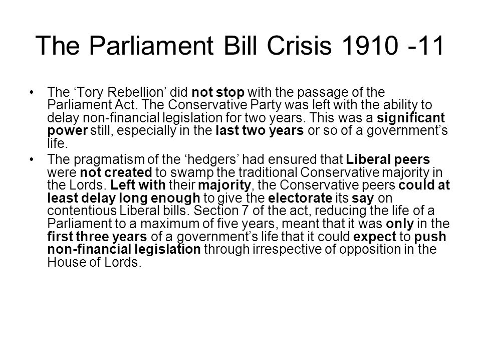 The Parliament Bill Crisis 1910 -11