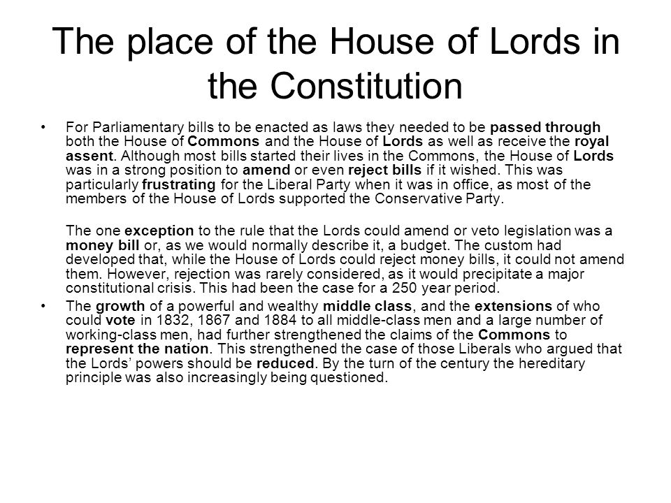 The place of the House of Lords in the Constitution