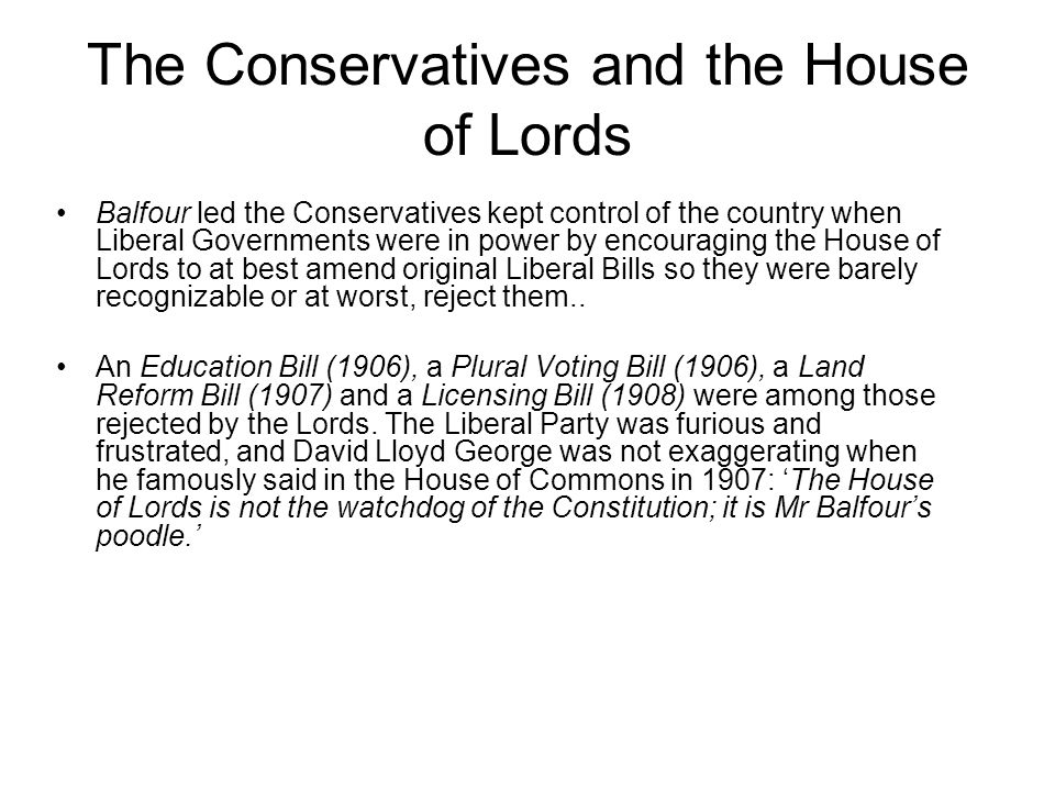 The Conservatives and the House of Lords