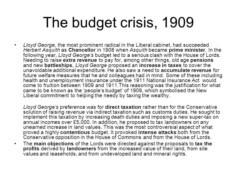 The budget crisis, 1909