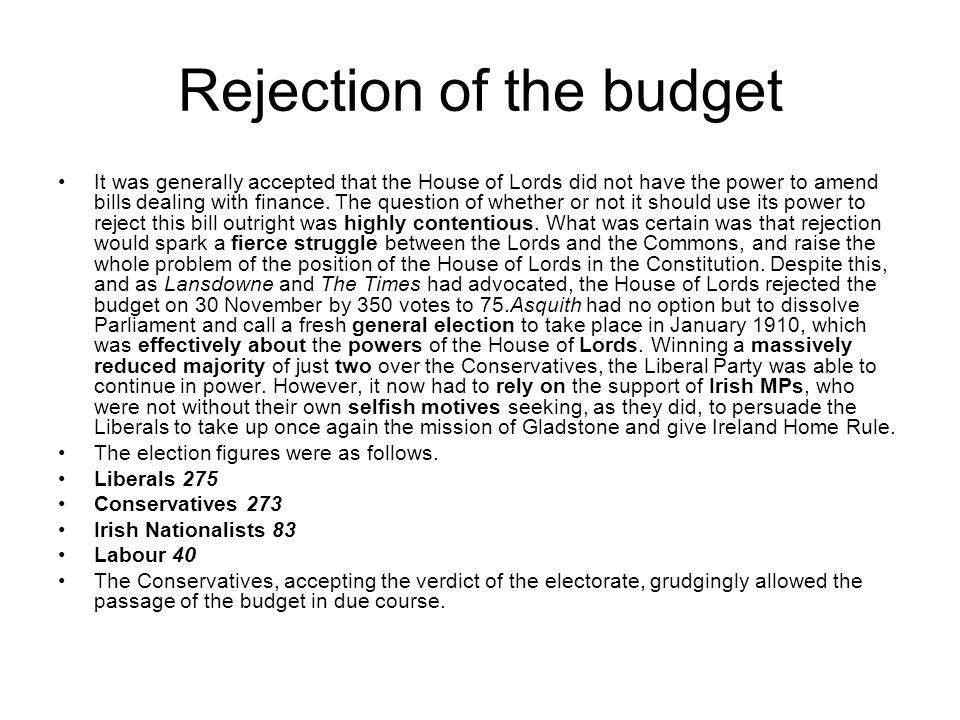 Rejection of the budget