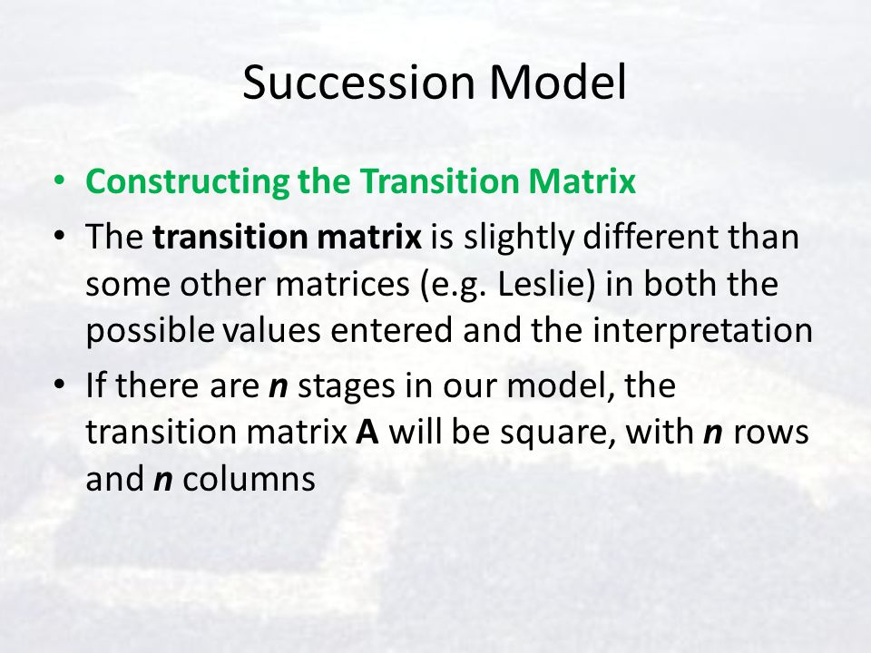 Succession Model Constructing the Transition Matrix