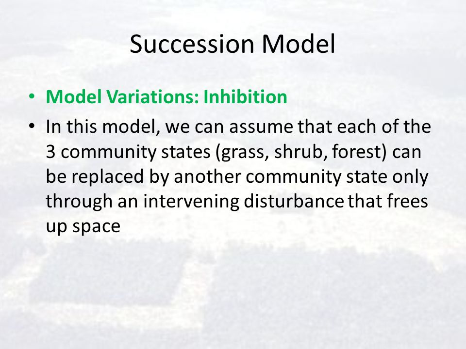 Succession Model Model Variations: Inhibition