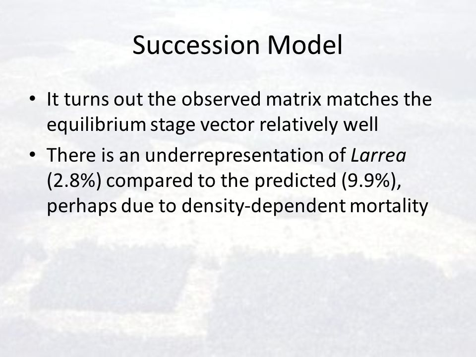 Succession Model It turns out the observed matrix matches the equilibrium stage vector relatively well.