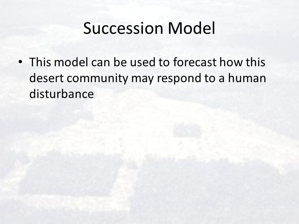 Succession Model This model can be used to forecast how this desert community may respond to a human disturbance.