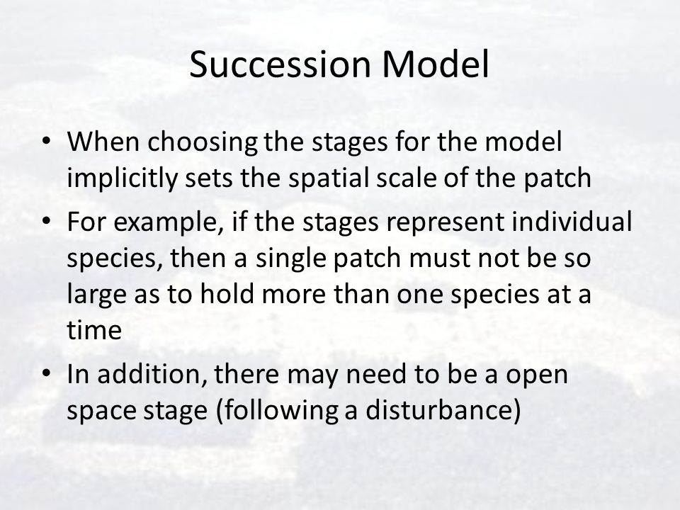 Succession Model When choosing the stages for the model implicitly sets the spatial scale of the patch.