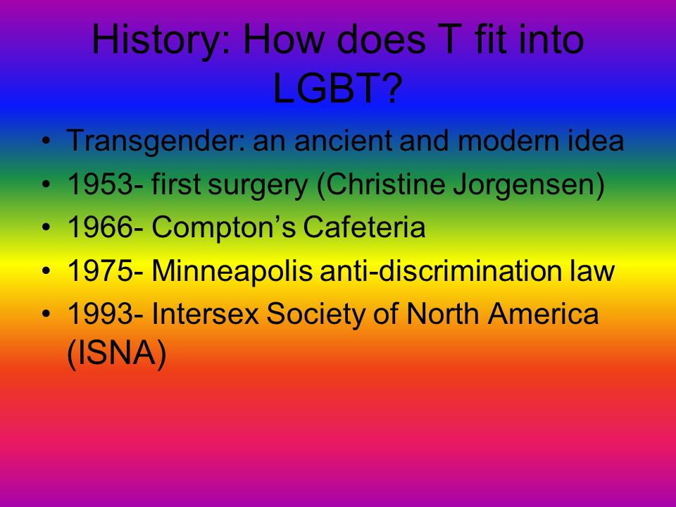 History: How does T fit into LGBT