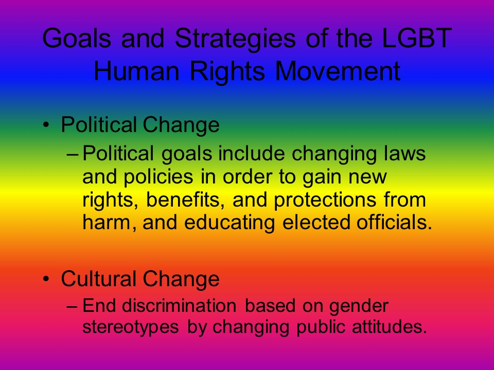 Goals and Strategies of the LGBT Human Rights Movement