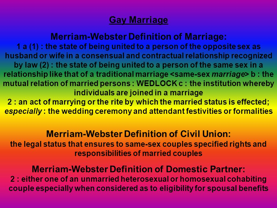 marriage like relationship definition webster