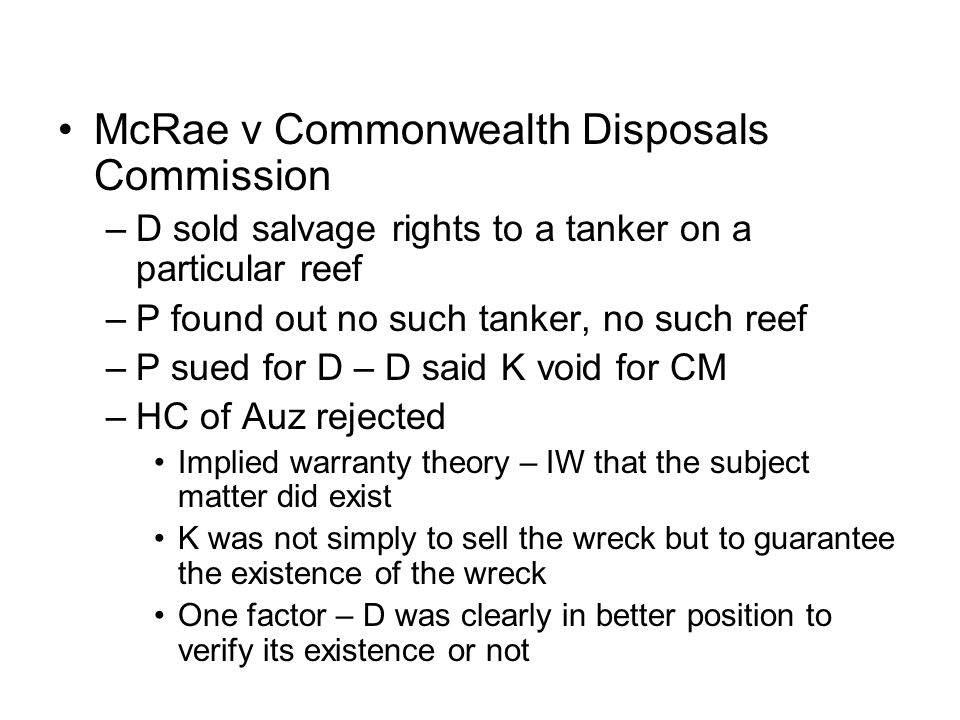 McRae v Commonwealth Disposals Commission