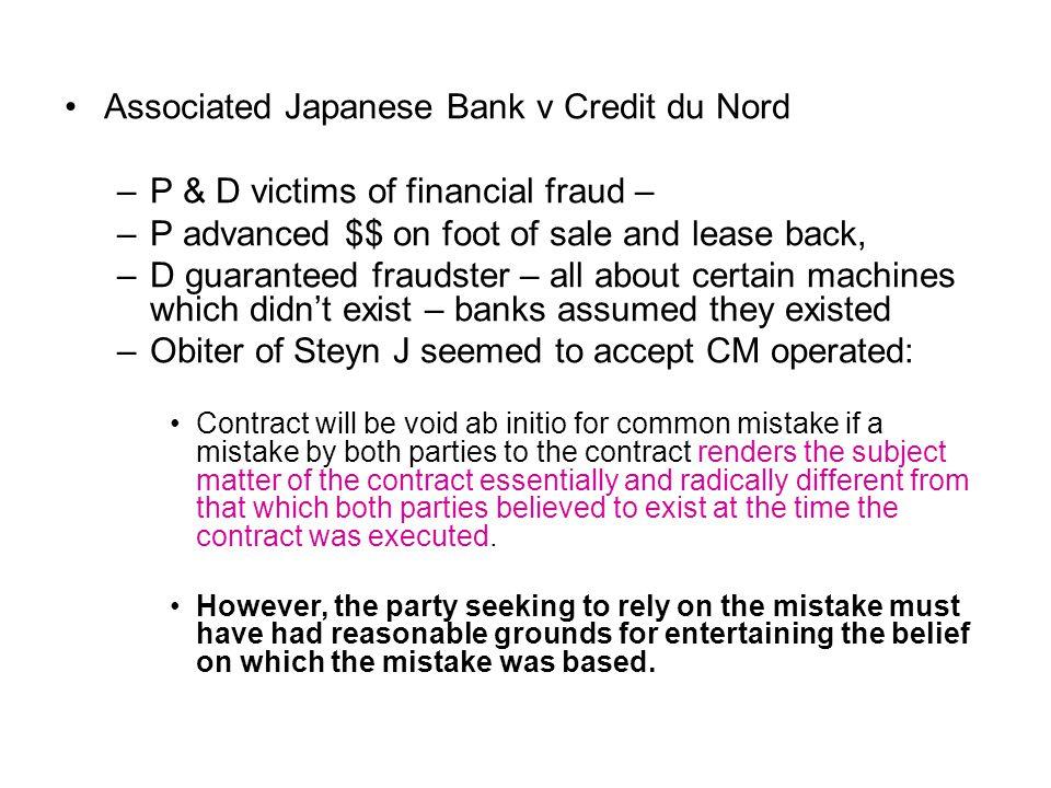 Associated Japanese Bank v Credit du Nord
