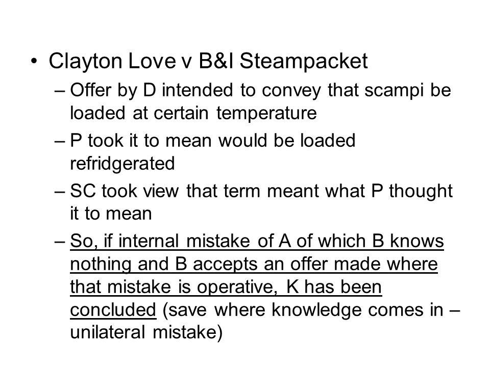 Clayton Love v B&I Steampacket