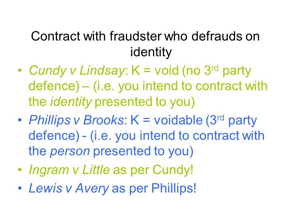 Contract with fraudster who defrauds on identity
