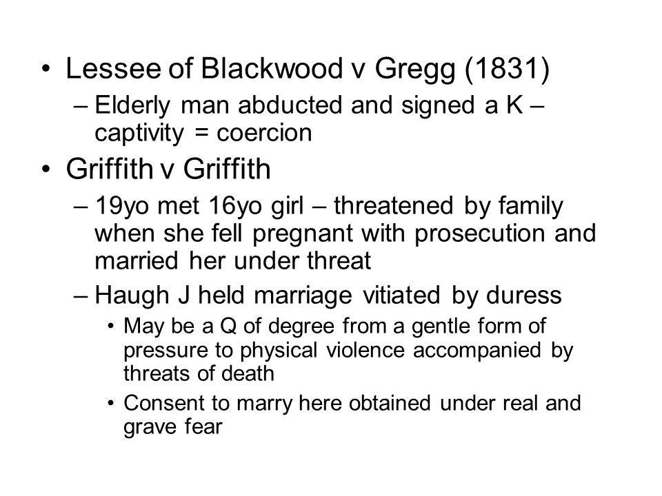 Lessee of Blackwood v Gregg (1831)