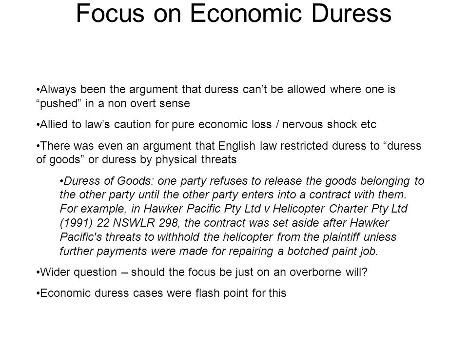 Focus on Economic Duress