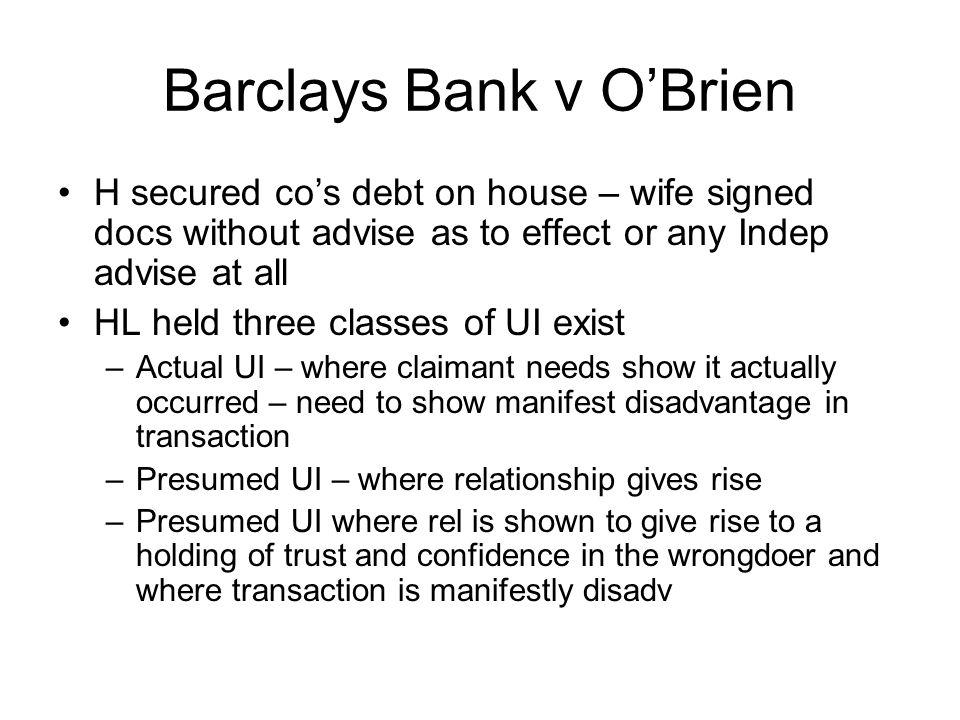 Barclays Bank v O'Brien