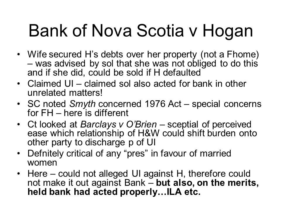 Bank of Nova Scotia v Hogan