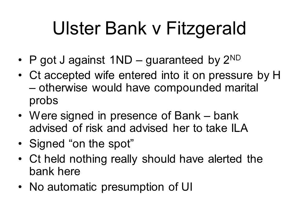 Ulster Bank v Fitzgerald