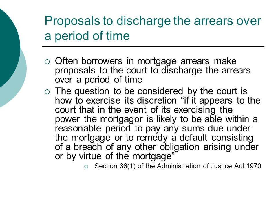 Proposals to discharge the arrears over a period of time