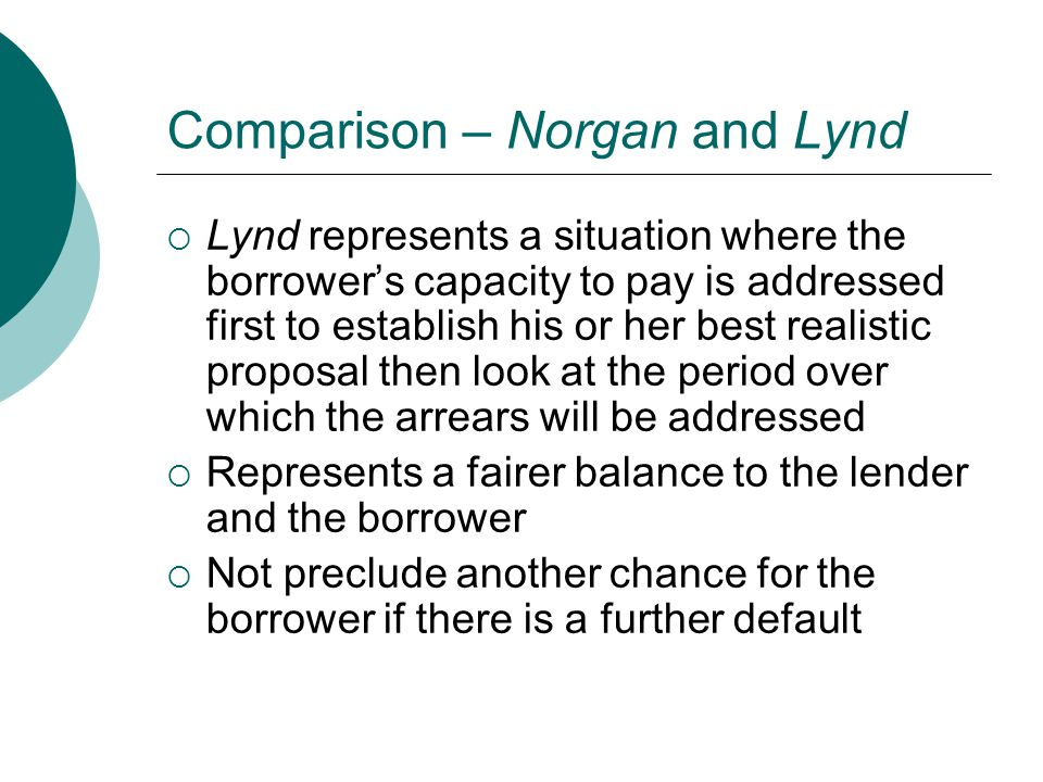 Comparison – Norgan and Lynd