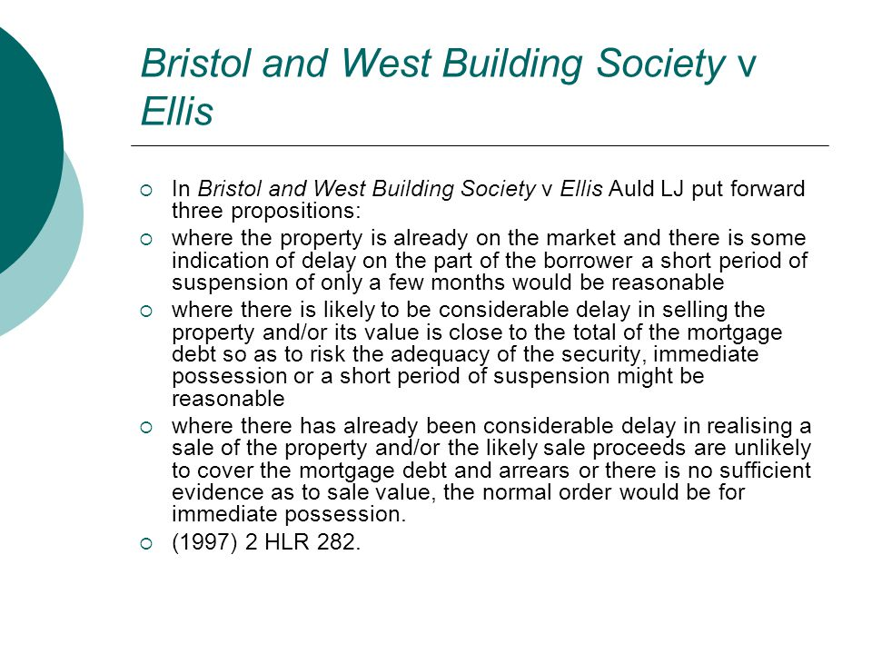 Bristol and West Building Society v Ellis