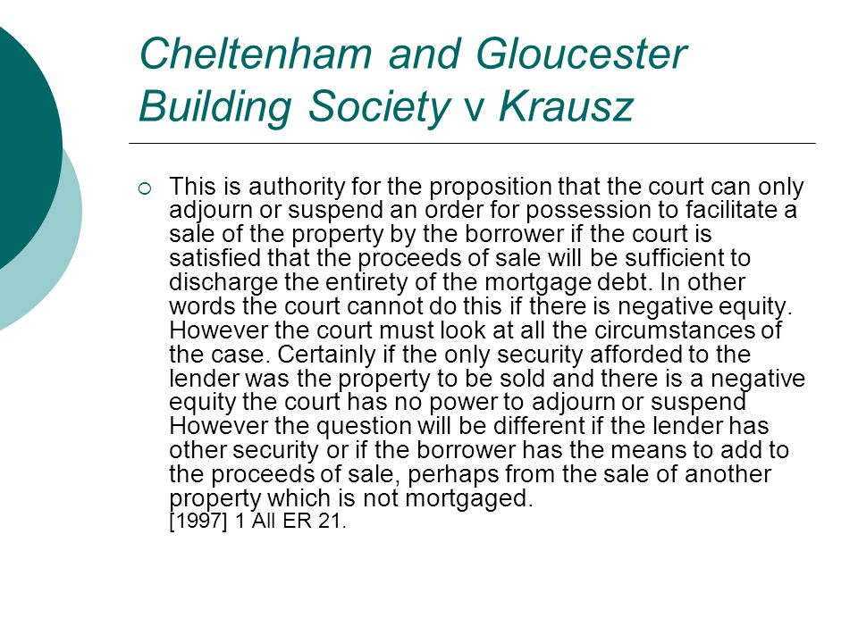 Cheltenham and Gloucester Building Society v Krausz