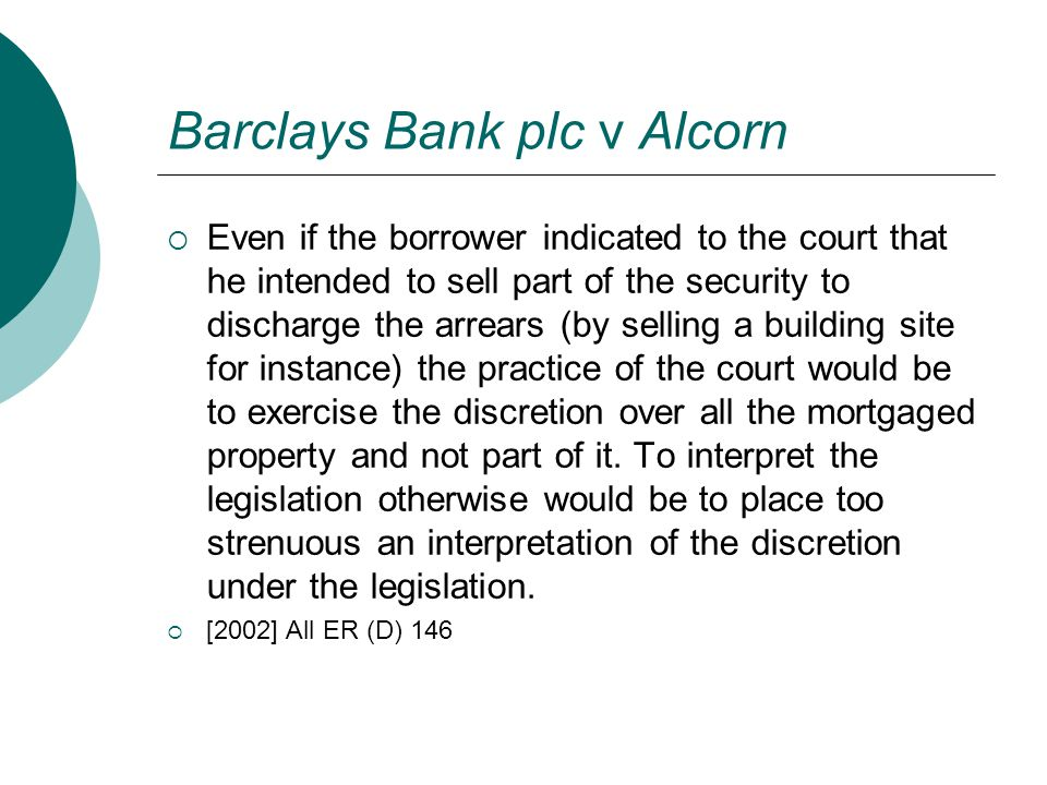 Barclays Bank plc v Alcorn