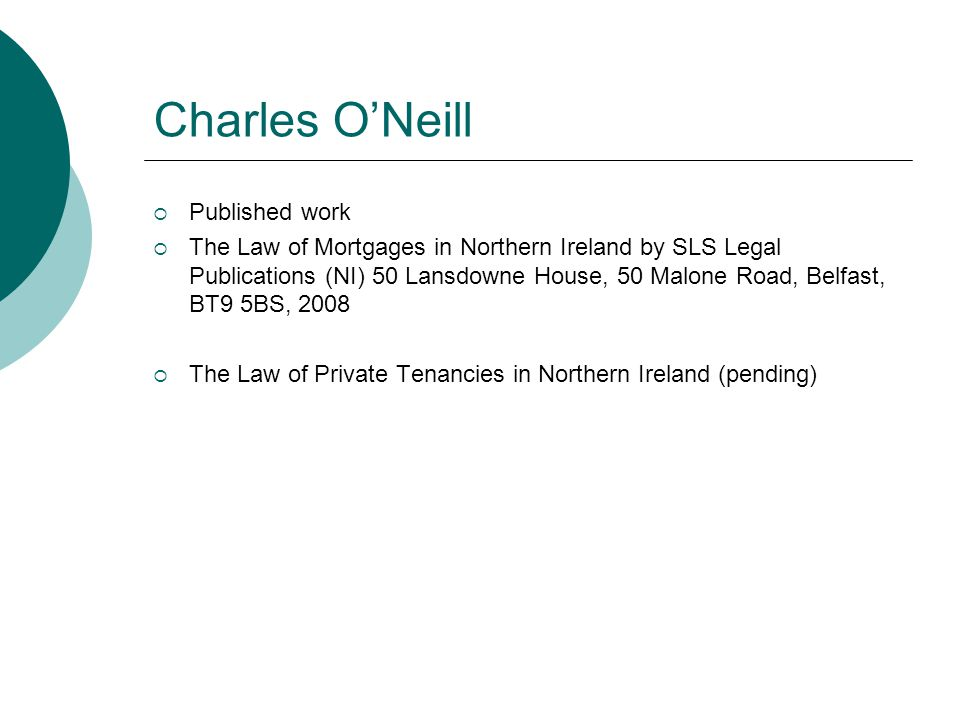 Charles O'Neill Published work
