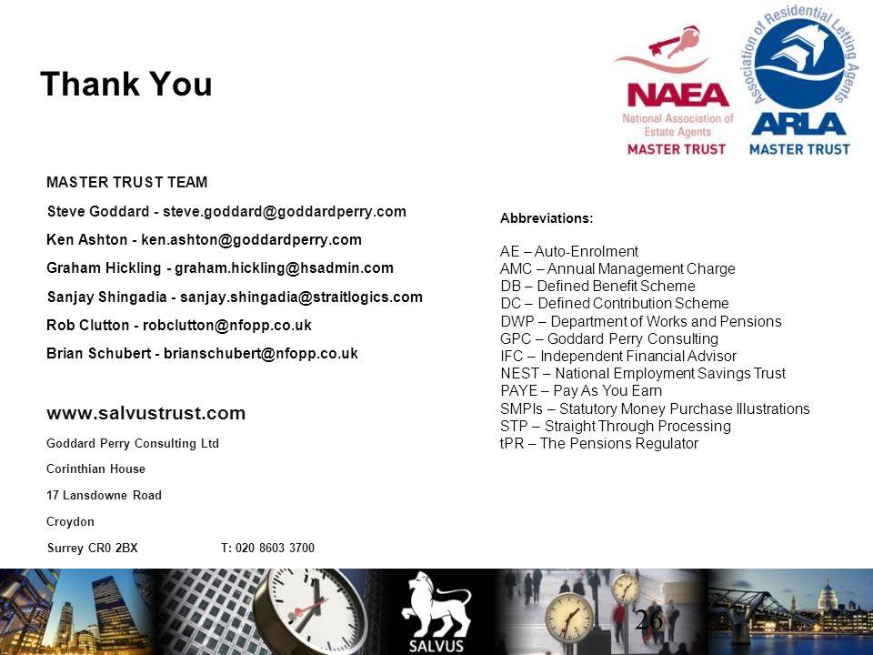 Thank You www.salvustrust.com MASTER TRUST TEAM