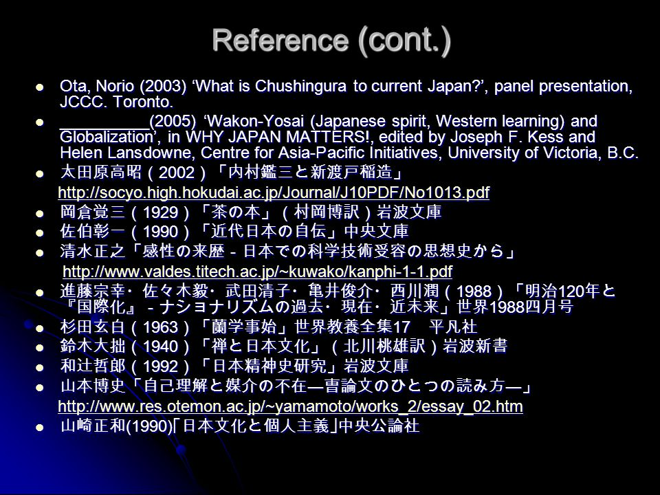 Reference (cont.) Ota, Norio (2003) 'What is Chushingura to current Japan ', panel presentation, JCCC. Toronto.