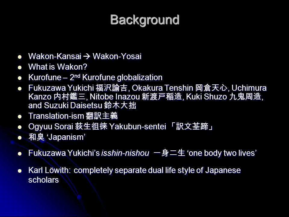 Background Wakon-Kansai  Wakon-Yosai What is Wakon