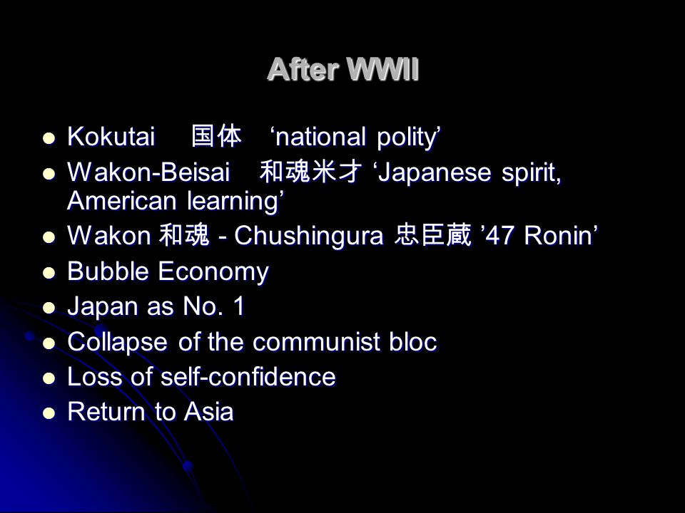 After WWII Kokutai 国体 'national polity'