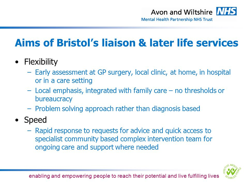 Aims of Bristol's liaison & later life services