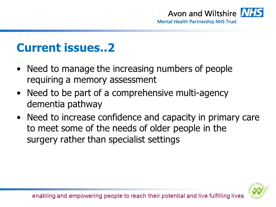 Current issues..2 Need to manage the increasing numbers of people requiring a memory assessment.