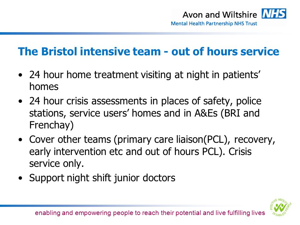 The Bristol intensive team - out of hours service