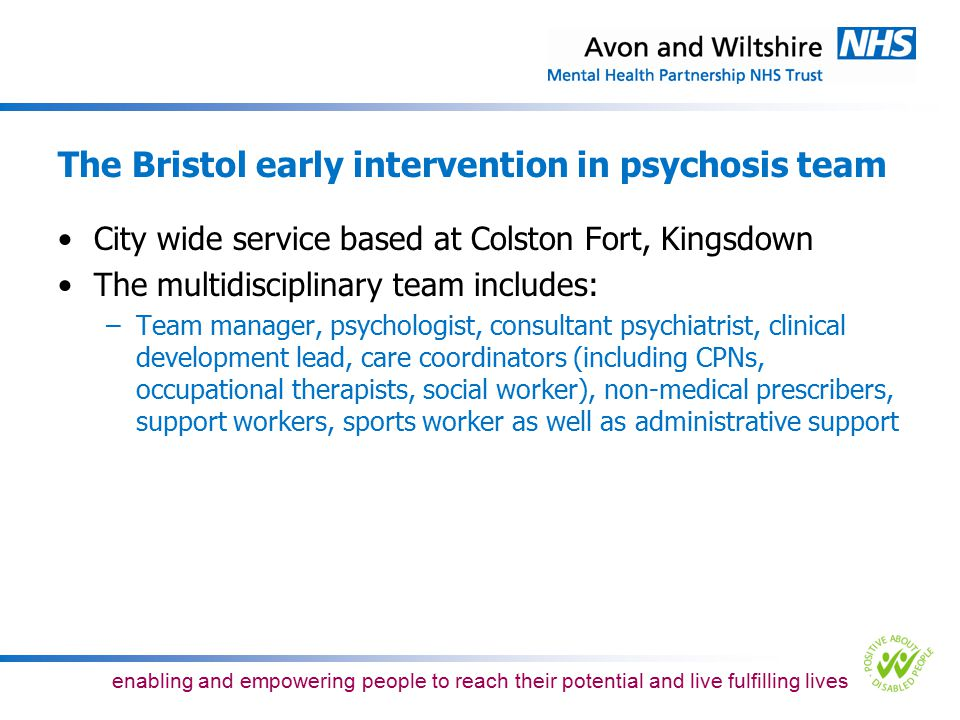 The Bristol early intervention in psychosis team