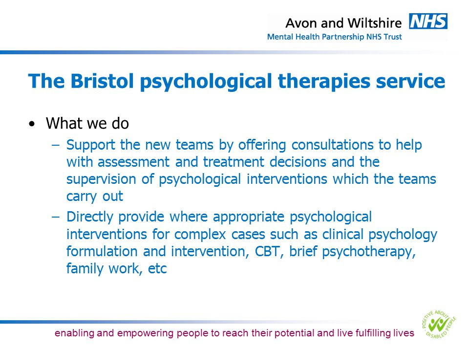 The Bristol psychological therapies service