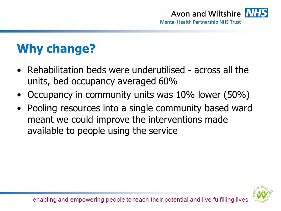 Why change Rehabilitation beds were underutilised - across all the units, bed occupancy averaged 60%