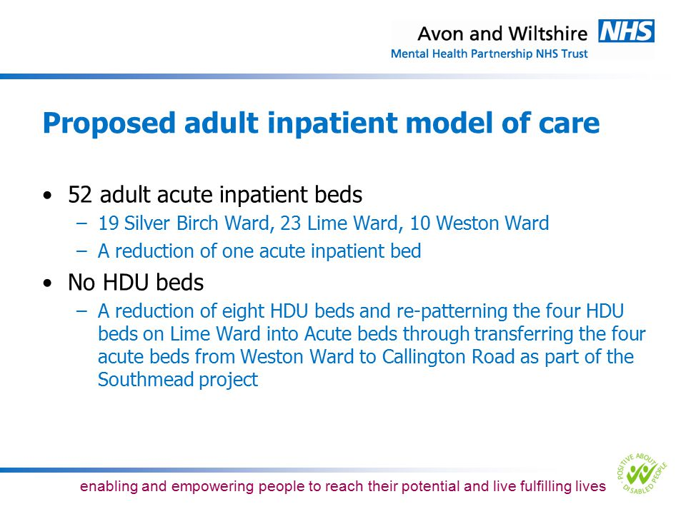 Proposed adult inpatient model of care