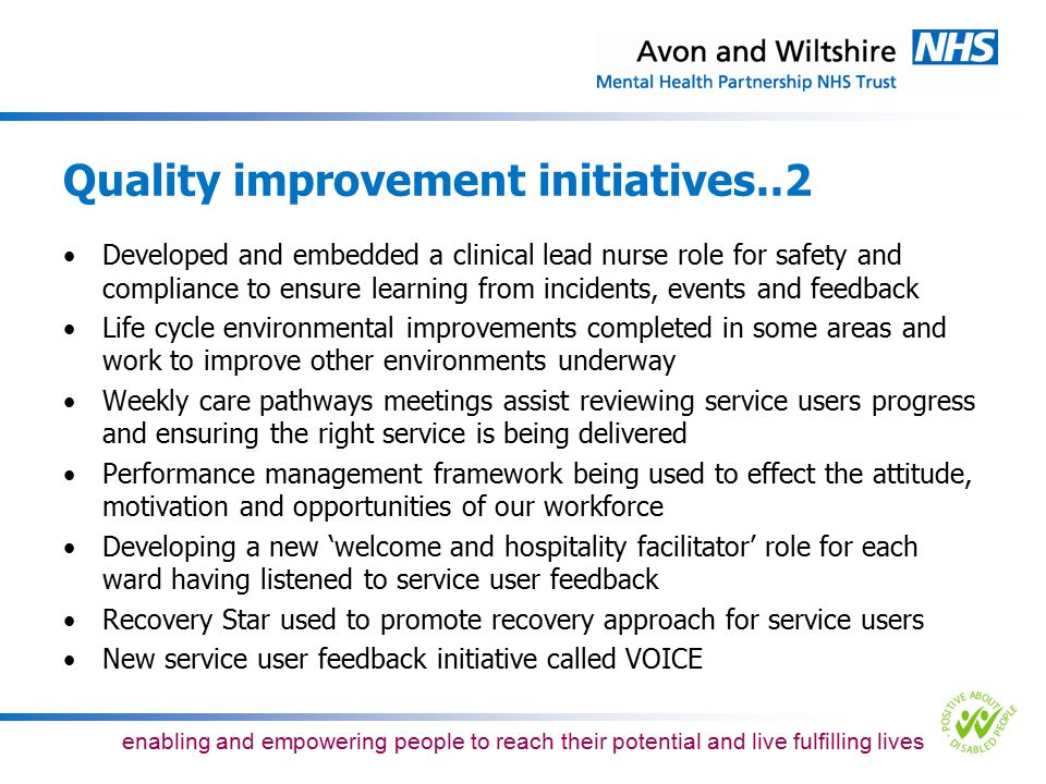 Quality improvement initiatives..2