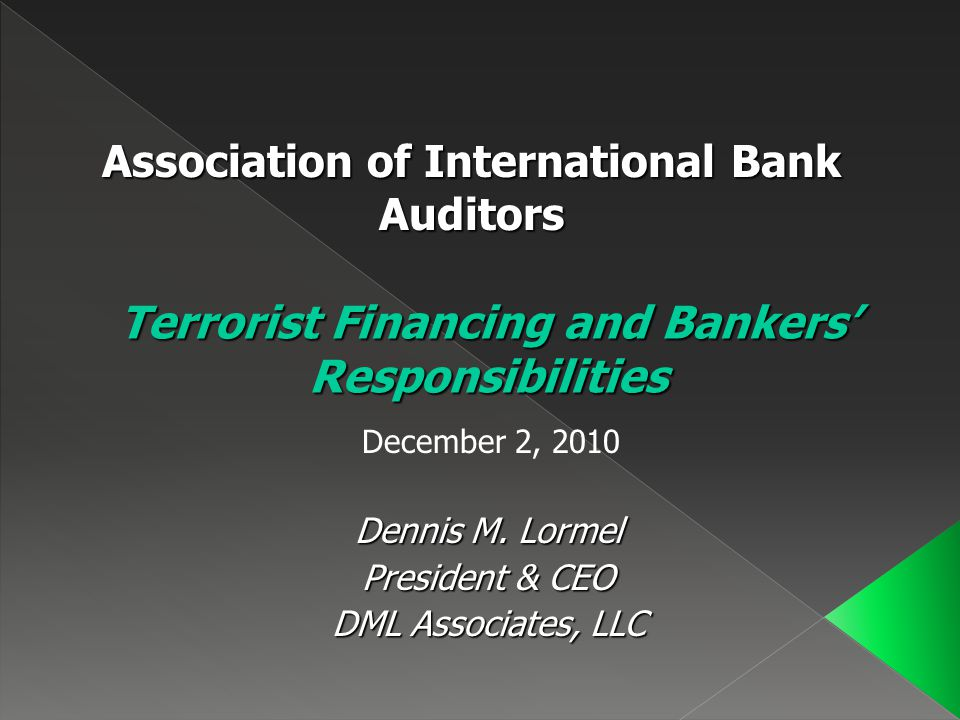 Terrorist Financing and Bankers' Responsibilities