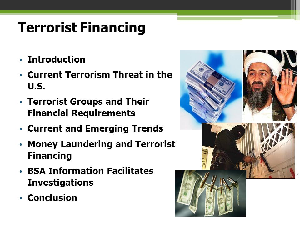 Terrorist Financing Introduction Current Terrorism Threat in the U.S.